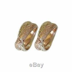 14k Gold Hawaiian Heirloom Jewelry Double Band 14k Gold Wedding Ring Set of Two
