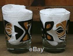 2 Tiki Diablo 24k Gold Leaf and Black Mai-Tai Coctkail Glass Mug Set of Two
