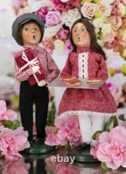 2021 BYERS CHOICE Valentine Couple Boy & Girl Hearts Love Red Cookies Set of TWO