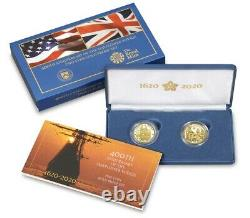 400th Anniversary of the Mayflower Voyage Two-Coin Gold Proof Set IN HAND