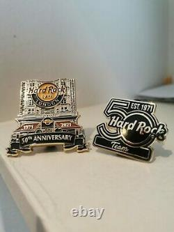 A set of two! Hard Rock Cafe 50th Anniversary Staff Pins LIMITED EDITION of 100
