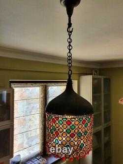 A set of two Tiffany style chain mail pendant lamps