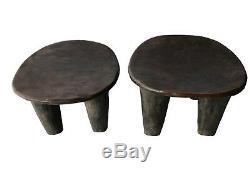 African Senufo Wood Kids Milk Stool I. Coast Set of Two