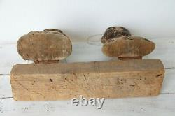 American Folk Art 19th Century African Dodger, Set of two Heads, a Man and Woman