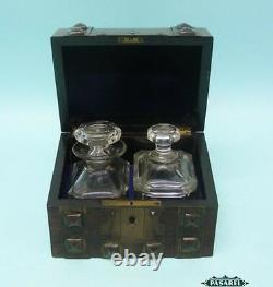 Antique French Perfume Casket Set With Two Crystal Bottles Circa 1850