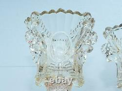 Antique Glass Candle Holder Set Pair of two Murano Glass Bowl Oil Lamp Burner