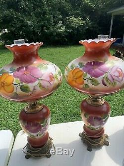 Antique Hurricane Style Electric Table Lamps Hand painted Set Of Two Large