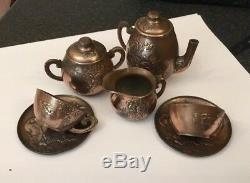 Antique Japanese 19th Century Copper Childs Tea Set For Two On Tray Miniature