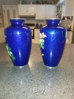 Antique Japanese Cloisonne Floral Rose Vases Rare Cobalt Blue, Set of Two