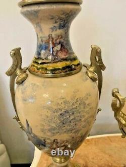 Antique Original 20th French Porcelain Set Two Vases Bronze Centerpiece 70 CM