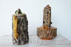 Antique Portuguese Set of Two Palissy Ware Majolica Water Ewer, Cork Oak Decor