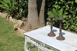 Antique Set of Two Victorian Cast Iron Floral Candleholders