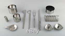 Arne Jacobsen for Stelton. Cylinda Line salad set, carving set, two ashtrays