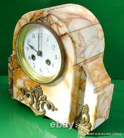 Art-deco French 8 Day Two Train Marble Garniture Clock Set
