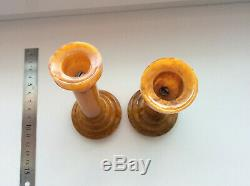 BAKELITE CATALIN MARBLE SET. Two pieces. 244g