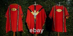 Beautiful red mass set with two stoles vestment cope ciborium chalice