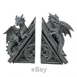 Bookends Medieval Gothic Castle Dragons Statues Set of Two