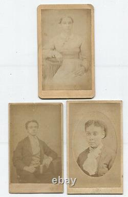 CDV African American Portraits, Man, Two Women, Three Set. Pa, Mass