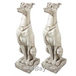 Design Toscano Art Deco Whippet Greyhound Sentinel Dog Statue Set of Two