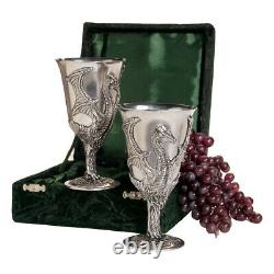 Design Toscano Dragon Pewter Goblets Set of Two with Gift Box