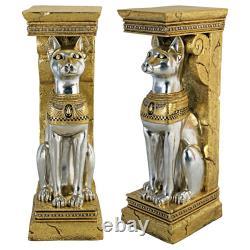 Design Toscano Egyptian Cat Goddess Bastet Pedestal Statue Set of Two