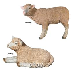 Design Toscano Merino Ewe Life-Size Lambs Statue Collection Set of Two