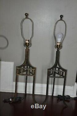 Ethan Allen iron set of two table lamps