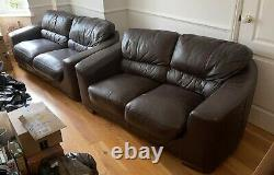 Genuine leather sofa set, two doubles and one single for collection only