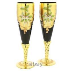 GlassOfVenice Set of Two Murano Glass Champagne Flutes 24K Gold Leaf Purple
