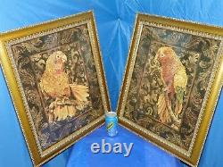 Gold Bronze Framed Pictures Of Yellow Parrot- Set Of Two By Artist Wood