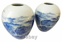 Hand Painted Blue and White Chinese Porcelain vases Set of Two 15.5 H