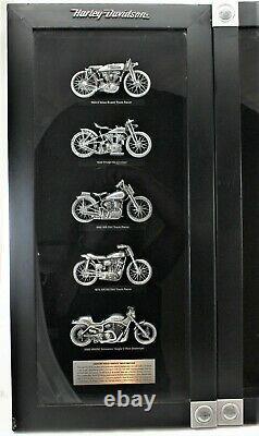 Harley Davidson Framed Shadow Box Legendary Racing Machines Set of Two