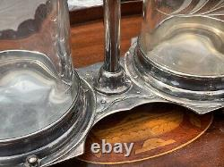 Hawkes Glass Two Bottle Tantalus Set
