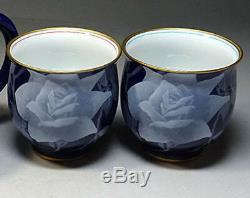 Japanese Vintage Tea Pot and Two Bowls Set signed Koransha