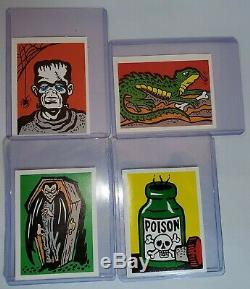 LOT TWO 1960s LEAF SPOOK STORIES STICKER SET OF 4 VINTAGE MONSTERS NON SPORT