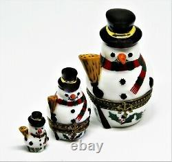 Limoges Box Christmas Nesting Snowman Set Two Boxes Three Pieces