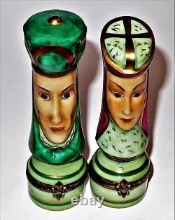 Limoges France Two Box Set Chamart Matching King & Queen Chess Pieces -games