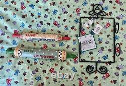 Mary Engelbreit Rolling Pins Decorative Set of Two with Rack Wall Hanging NWT