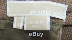 Michael Kors Collection Suit Two piece Set Jacket Fox Fur Collar Skirt 4 Wool
