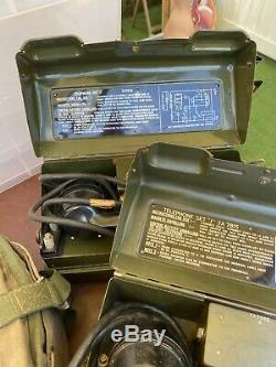 Millitary Telephone Set J YA7815 Set Of Two And Cable Working