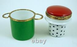 New French Limoges Box Two Piece Set Spaghetti Pasta Pot w Painted Vegetables