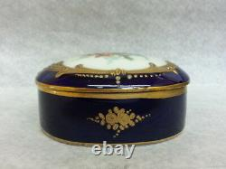 Nice 1940 Blue Cobalt Porcelain Three Pieces Vanity Set Box And Two Bottles