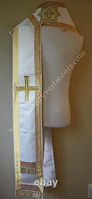 Orthodox Bishop's Omophors Set Of Two Small and Large White Gold