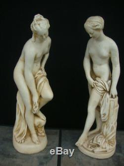 Pair Of Vintage Chalkware Set Of Two Goddess Roman Nude Statues