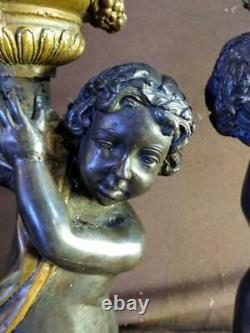 Pair of Two 2 Bronze Cherub Putti Candlesticks Figural Statues Art Sculpture Set