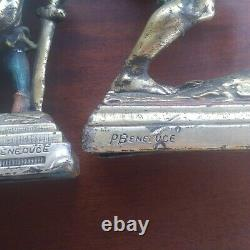 R. Beneduce Armor Bronze Pirate Bookends 1930s Two Different One Set BIN OBO FS