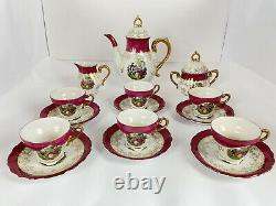Royale Sealy Porcelain Tea 17pc Set Pink & Gold Two Lovers In A Garden B-1659