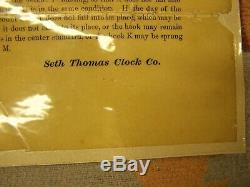 SETH THOMAS TWO DIAL CALENDAR CLOCK 1869- 1876 With 2 SETS OF INSTRUCTIONS. KEYS