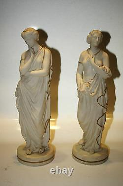Set Of 2. Figure. Statue. Decor. European Hand Painted Two Half Nude Women Nymph