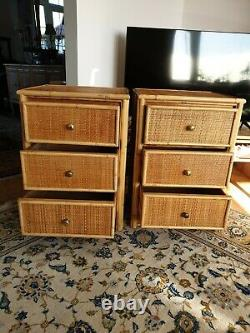 Set Of Two Mid Century Wicker/ Cane Bamboo Bed Side Tables With 3 Drawers. 1960/